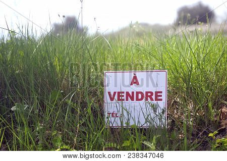 Sign Indicating That Land Is For Sale In A Rural Area