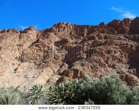 Rocky Slope Of African Todgha Gorge Canyon Landscapes In Morocco, Eastern Part Of High Atlas Mountai
