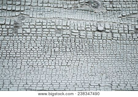 Texture Wooden Background - Wooden Surface Covered With Peeling Paint Of Grey Color. Peeling Paint,