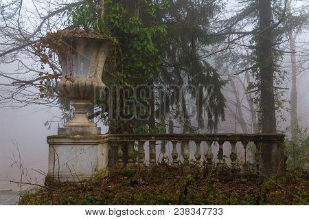 Vase And Balustrade Of The Abandoned Building Of The Former Restaurant On The Top Of Mount Akhun In