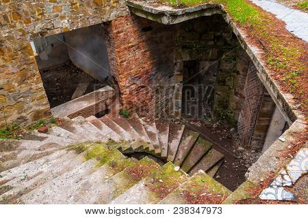 High-angle View Of The Staircase In The Hall Of The Abandoned Old Mansion Called Dacha Kvitko, Sochi