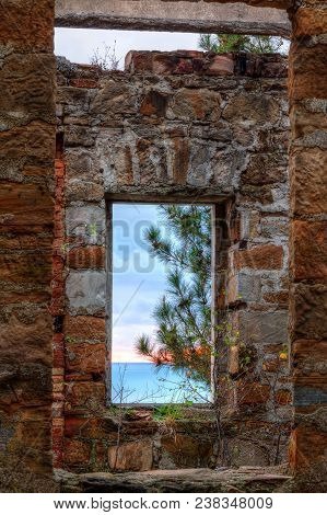 View Of The Sea And Tree From The Window Of The Abandoned Old Mansion Called Dacha Kvitko In Overcas