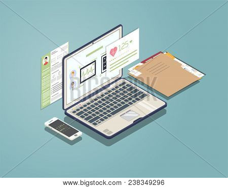 Isometric Laptop With Software For Medicine And Healthcare. Phone And Folder With Documents. Doctor