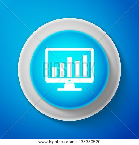 White Computer Screen With Financial Charts And Graphs Icon Isolated On Blue Background. Chart Bars