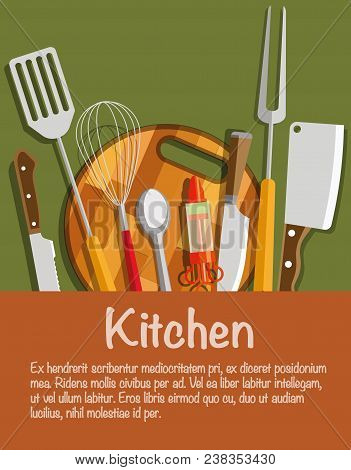 Kitchen Tools. The Concept Of Kitchen Tools. Kitchen Appliances. Knife, Spoon, Cooking Fork, Whisk,