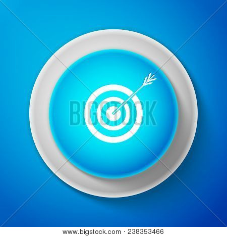 White Target With Arrow Icon Isolated On Blue Background. Dart Board Sign. Archery Board Icon. Dartb