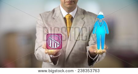 Unrecognizable Hr Manager Equating A Female Worker Wearing A Helmet With Negative Growth. Hr Concept