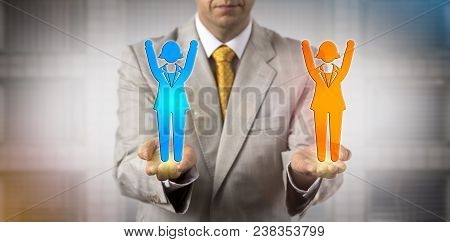 Unrecognizable Business Manager Keeping Two Cheering Female Employee Icons In Balance. Concept For M