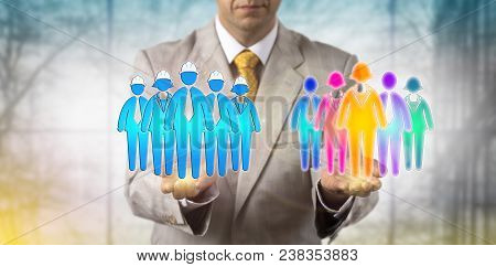 Unrecognizable Manager Balancing A Group Of Five Multi-cultural White Collar Employees And A Blue Co