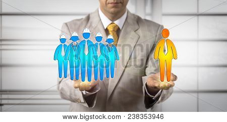 Unrecognizable Mediator Balancing Blue Collar Workers And One White Collar. Concept For Human Resour