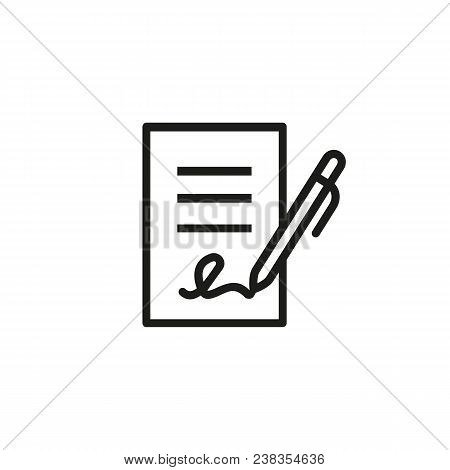 Signing Contract Icon.  Report, Letter, Will. Deal Concept. Can Be Used For Topics Like Business, Ed