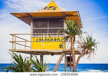 Lifeguard Huts On The Beach In Surfers Paradise In Gold Coast