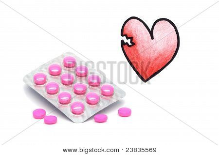 Drugs and illustrated broken heart on a white background