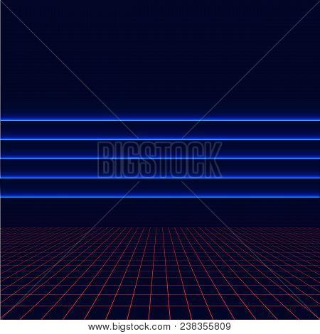 Future Retro Line Background Of The 80s. Vector Futuristic Synth Retro Wave Illustration In 1980s Po