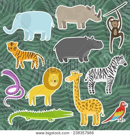 Cute Cartoon Flat Tropical And Jungle Animals Stickers. Childish Illustration Of Savanna Or Safari A