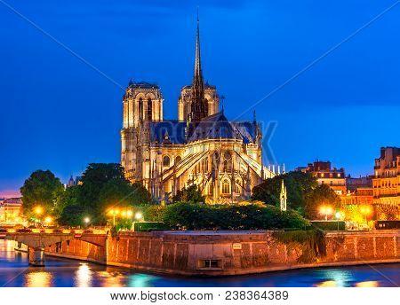 Ile De La Cite, Paris, France: Night View Of Cathedrale Notre Dame De Paris Or Our Lady Of Paris, A