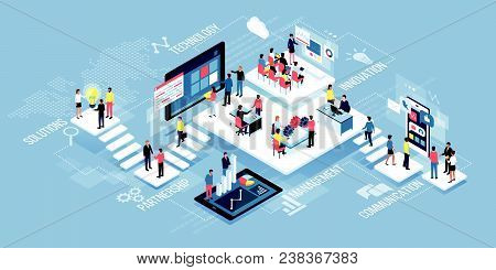 Isometric Virtual Office With Business People Working Together And Mobile Devices: Business Manageme