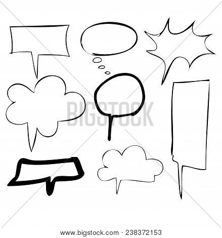 Set Of Various Types Of Speech Bubbles,freehand Drawing Bubble Speech Items,speech Balloons Collecti