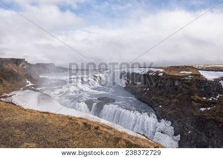 Landscape Image Of Gullfoss Waterfall In Southwest Iceland