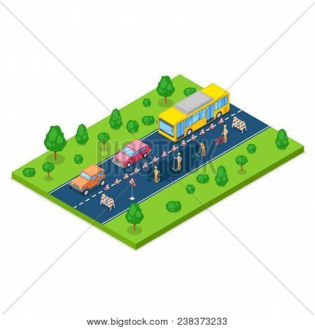 Road Repair, Roadworks And Construction Concept. Vector 3d Isometric Illustration. City Road Closed