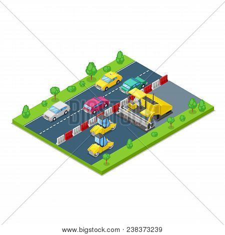 Road Repair And Construction Concept. Vector 3d Isometric Illustration. Roller And Asphalt Paving Ma