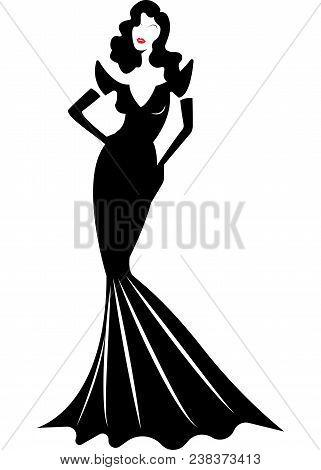 Shop Logo Fashion Woman, White Silhouette Diva. Company Logo Design, Beautiful Luxury Cover Girl Ret