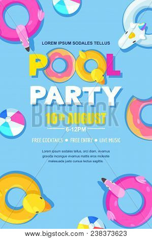 Summer Pool Party, Vector Poster, Banner Layout. Unicorn, Flamingo, Duck, Ball, Donut Cute Floats In