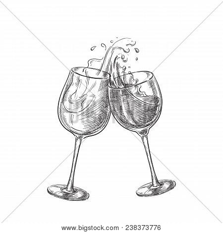 Two Wine Glasses With Splash Drinks, Sketch Vector Illustration. Hand Drawn Label Design Elements