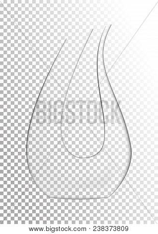 Vector Illustration In Photorealistic Style. The Image Of A Realistic Glass Transparent Decanter For