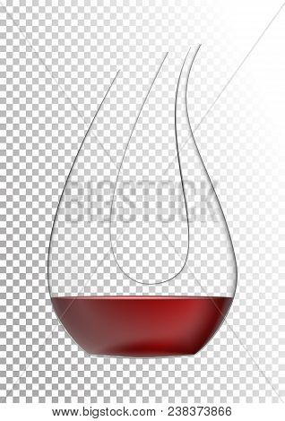 Vector Illustration In Photorealistic Style. The Image Of A Realistic Glass Transparent Decanter Wit