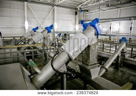 Wastewater Treatment Plant. Filter Equipment For Sewage Treatment From Solid Impurities.