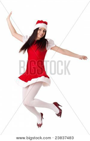 Young Woman In Santa Costume. Christmas.