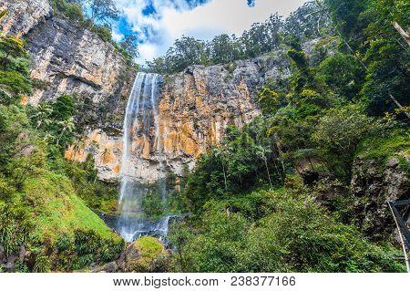 Rainbow Falls In A Rainforest In Springbrook National Park, Qld, Australia