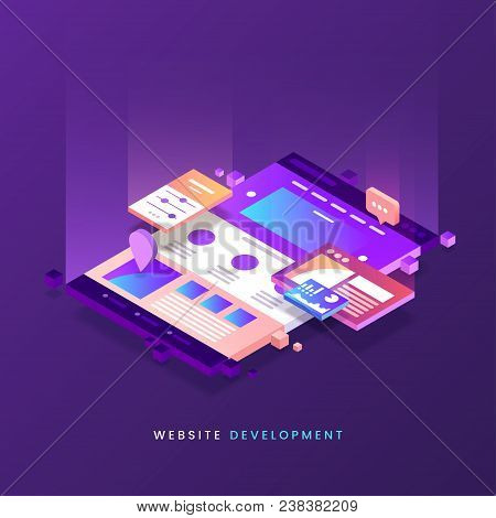 Website Development Vector Illustration. Colorful Web Page Isometric Icon. Modern Landing Page. Site