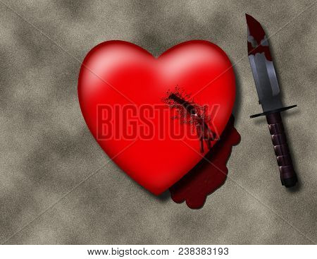 Stabbed heart with bloody knife. 3D rendering