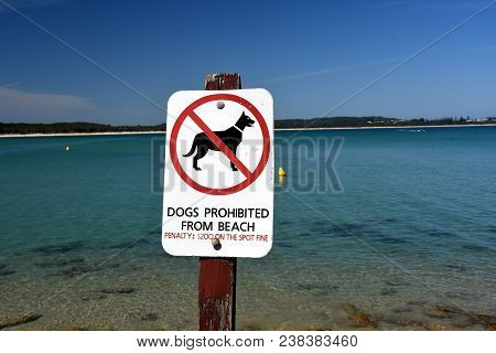 South West Rocks, Australia - Dec 24, 2017. A Sign Reads Dogs Prohibited From Beach On Trial Bay Gao