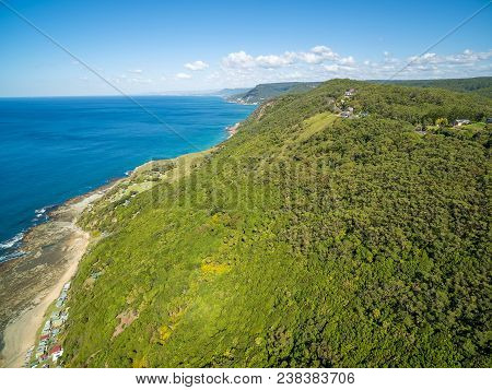 Aerial View Of Rugged Coastline On Grand Pacific Drive. Sydney, Australia