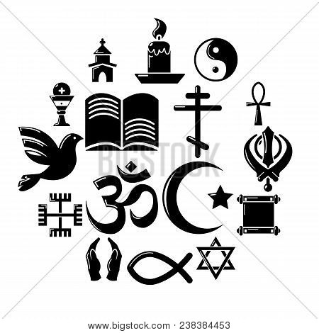 Religion Icons Set. Simple Illustration Of 16 Religion Vector Icons For Web