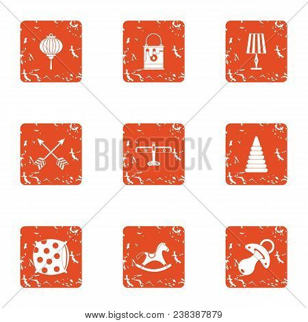 Floor For Child Icons Set. Grunge Set Of 9 Floor For Child Vector Icons For Web Isolated On White Ba
