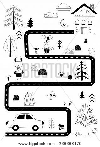 Road In The Forest. Print For A Nursery In Scandinavian Style With Animals, A Car, Trees And A House