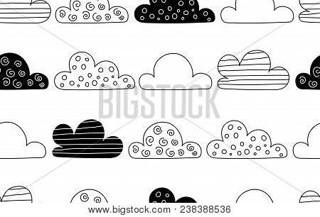 Scandinavian Style Abstract Seamless Pattern With Clouds In Black And White Colour. Vector Print For