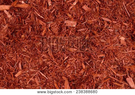 Full Frame Closeup Of Red Mulch Used For Gardening And Landscape Decoration.