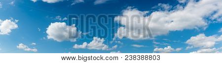 The Vast Blue Sky And Clouds Sky. Blue Sky Background With Tiny Clouds. Panorama.sky Blue Cloud Back