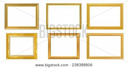 Set Of 6 Gold Frame For Painting Or Picture On White Background. Isolated. Clipping Path. Gold Frame
