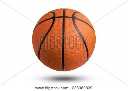 Basketball Ball Over White Background. Basketball Isolated. Orange Color Basketball. File Contains A