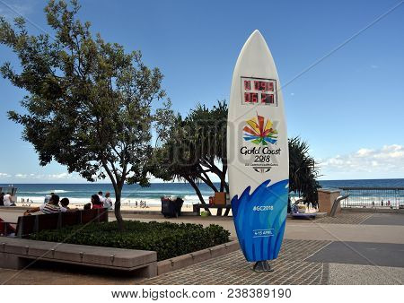Surfers Paradise, Australia - Dec 27, 2017. A Surfboard Themed Countdown Clock On Surfers Paradise,