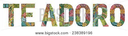 Hand-painted Art Design. Hand Drawn Illustration Words Te Adoro. I Love You In Spanish For T-shirt A