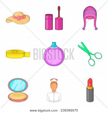 Female Person Icons Set. Cartoon Set Of 9 Female Person Vector Icons For Web Isolated On White Backg