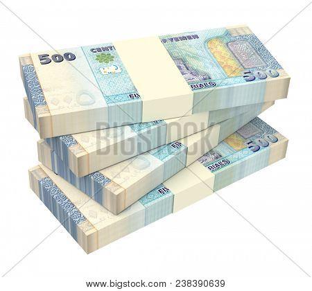 Yemeni rials bills isolated on white background. 3D illustration.