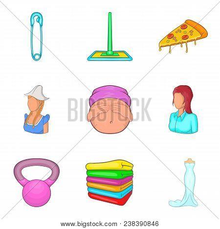 Feminine Icons Set. Cartoon Set Of 9 Feminine Vector Icons For Web Isolated On White Background
